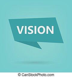 autocollant, mot, vision