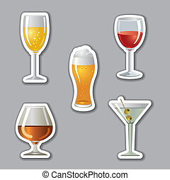 autocollants, alcool, boissons