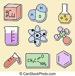 autocollants, chimie, -, illustration, icônes