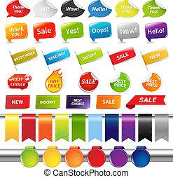 autocollants, coloré, vente, ensemble, étiquettes