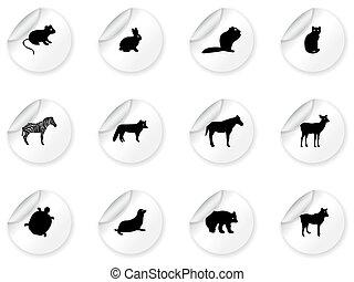 autocollants, icônes animales