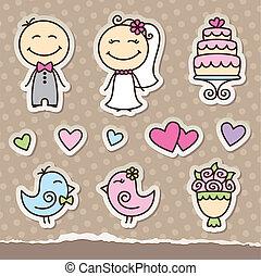 autocollants, mariage
