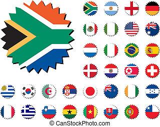 autocollants, pays, drapeaux