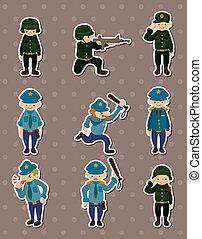 autocollants, police, armée