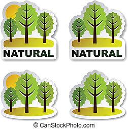 autocollants, vecteur, arbre, naturel, forêt