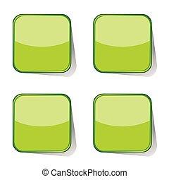autocollants, vecteur, vert, illustration