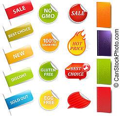 autocollants, vente, étiquettes
