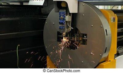 automatisé, cnc, industriel, métal, factory., laser, machine, découpage