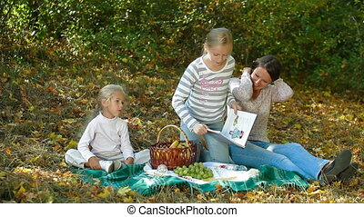 automne, apprécier, jour, famille