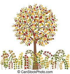 automne, arbre, coloré, fond
