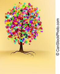 automne, arbre, conception, coloré
