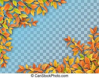 automne, arbre, feuilles, ensemble, branches