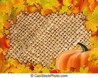 automne, cadre, baissé, leaves., coloré