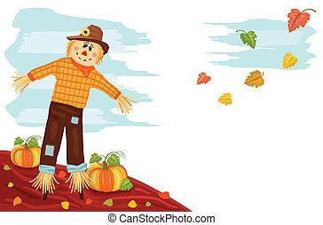 automne, citrouille, épouvantail, -