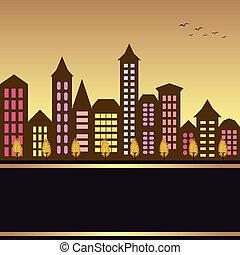 automne, cityscape, illustration