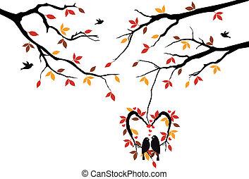 automne, coeur, nid, arbre, oiseaux