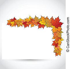 automne, coloré, feuilles, noter papier, érable