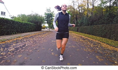 automne, courant, fitness