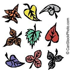 automne, dessiné, feuilles, grunge, main