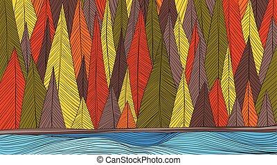 automne, dessiner, contour, main, à côté de, forêt, rivière