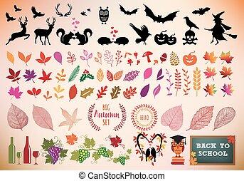 automne, ensemble, vecteur, icône