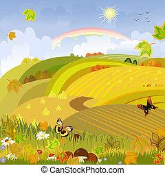 automne, expanses, champignons, fond, paysage rural