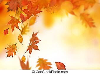 automne, feuilles chute, fond