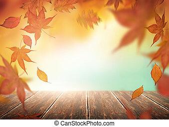 automne, feuilles chute, toile de fond