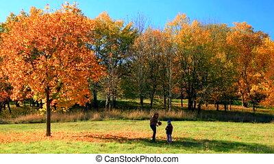 automne, fille parc, mère