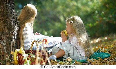 automne, filles, peu, parc, deux