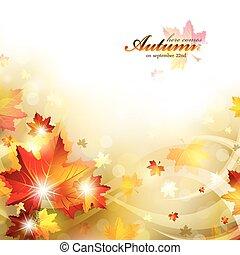 automne, fond, feuillage
