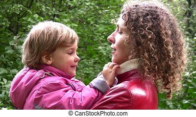 automne, girl, faces, parc, mère
