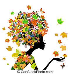 automne, girl, mode, fleurs