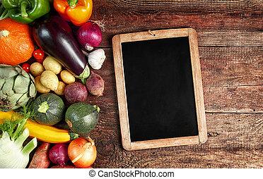 automne, grand, légumes, assortiment, frais