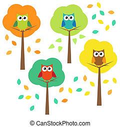automne, hiboux, arbres