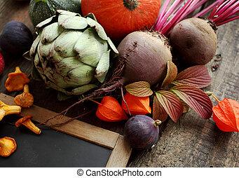 automne, légumes frais, nature morte