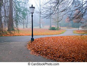 automne, lanternes, parc