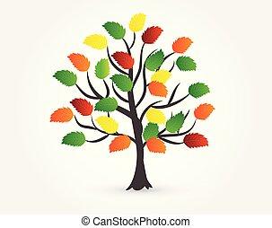 automne, logo, arbre
