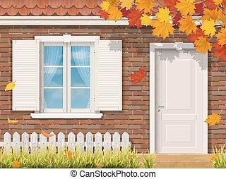automne, maison, façade, brique, saison