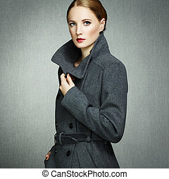 automne, manteau, femme, jeune, portrait