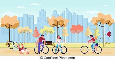 automne, marche, gens, parc