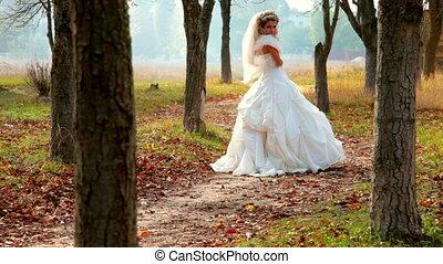 automne, mariée, parc