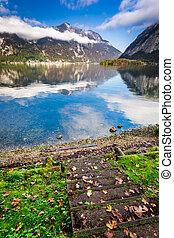 automne, montagnes, lac, vue