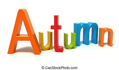 automne, mot, coloré, lettres