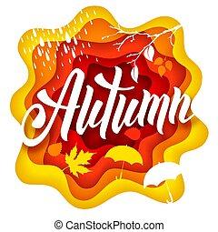 automne, papier, art