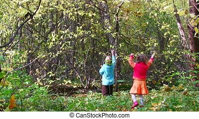 automne, parc jeu, enfants
