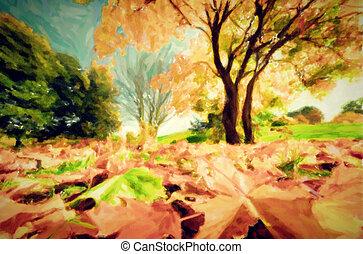 automne, parc, peinture, paysage, automne