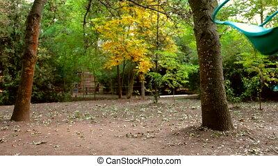 automne, parc, vide, balançoire