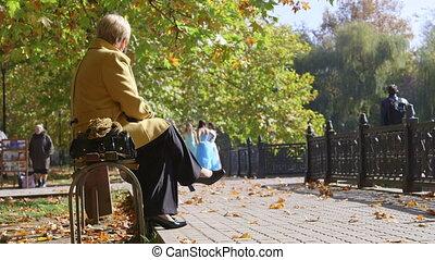 automne, parc ville, gens