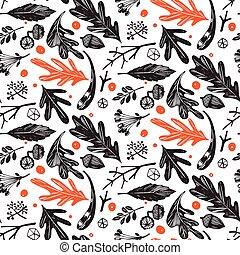 automne, pattern., seamless, feuillage